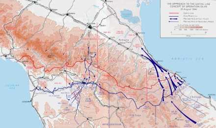 Linha Gótica em agosto de 1944, imediatamente antes da chegada da FEB. O posto a ser ocupado pela tropa brasileira corresponde aproximadamente ao espaço entre a 1a Div. Blindada dos EUA e a Força-Tarefa 45.